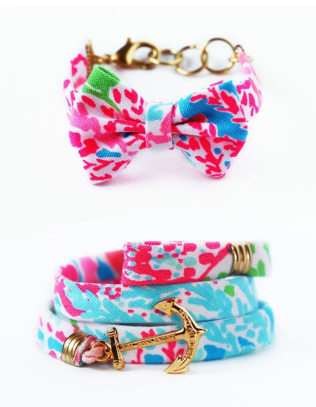 """Enter-to-win 1 of 5 exclusive Kiel James Patrick x Lilly Pulitzer bow bracelet or wrap made from our latest summer print """"Let's Cha Cha"""""""