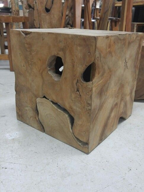 Seeing faces. Do you see the baby elephant? #Tiko #teakroot blocks organic design leaves much to the imagination. #sidetables #reclaimedwood #sustainabledesign #interiordesign #shoponline