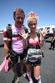 Lucie and Sunshine Coast Skydivers owner, Tibor Glesk, about to go onboard the Navajo before her Pinktober tandem skydive with Sunshine Coast Skydivers, Caloundra