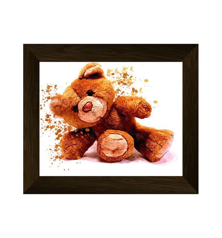 teddy bear print, animal wall art, baby room poster, nursery watercolor, modern printable artwork, instant digital download di AlemiPrints su Etsy