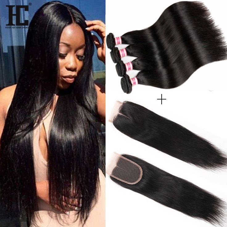8A Peruvian Virgin Hair With Closure 4 Bundles Peruvian Human Hair With Closure Peruvian Straight Hair Bundles With Lace Closure