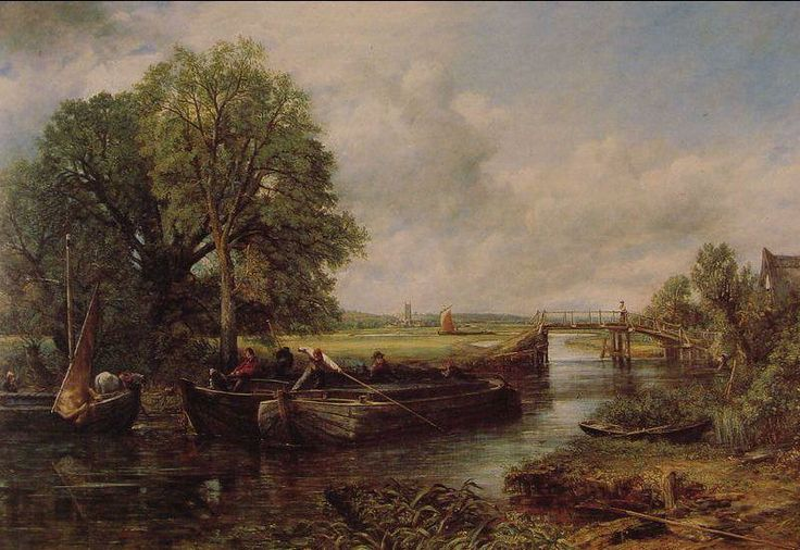 John Constable Un point de vue sur la Stour près de Dedham  1822 huile sur toile    129 x 188 cm  Grand peintre de paysage anglais