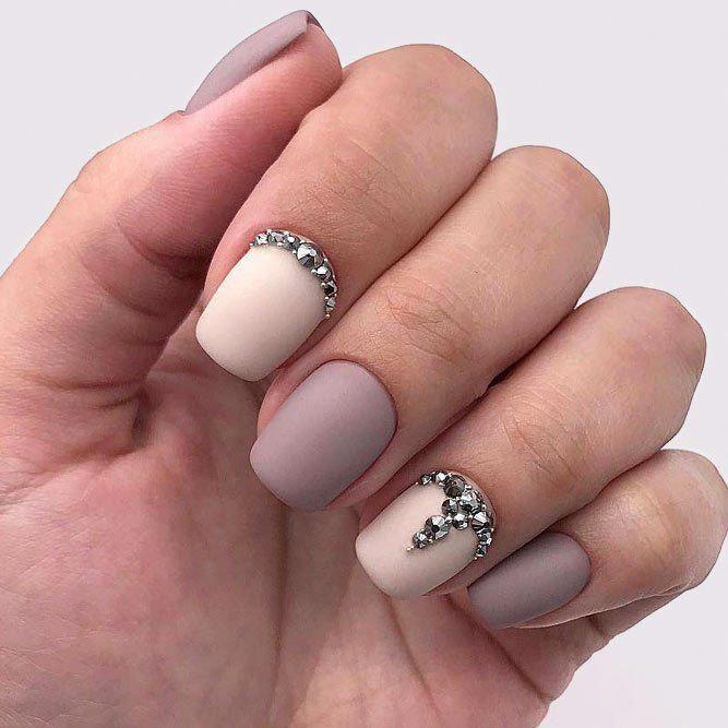 Fabelhafte Kombination aus lila Farbnägeln und Perlenpulver #mauvenails – mauve nails