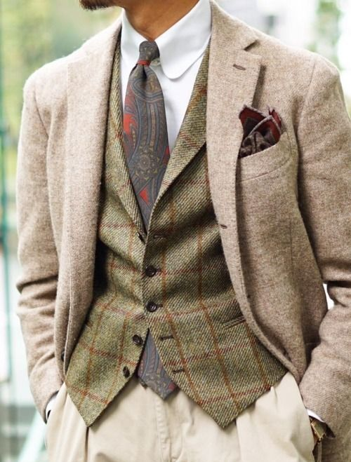 Gentleman Style Interpreted for a woman - tbe green plaid as a skirt and the beige jacket?