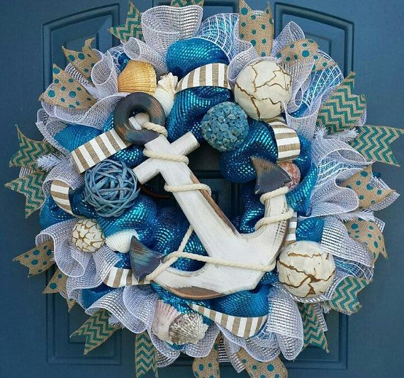 Nautical Wreath, Deco mesh wreath, summer deco mesh wreath, beach wreath, Everyday wreath
