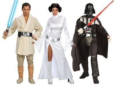 Fulfill your destiny this Halloween in your choice of 7 awesome Star Wars costumes: Women's Jedi Knight, Prisoner Princess Leia, Princess Leia White Dress, Luke Skywalker, Darth Vader, or Men's and Women's Stormtrooper!
