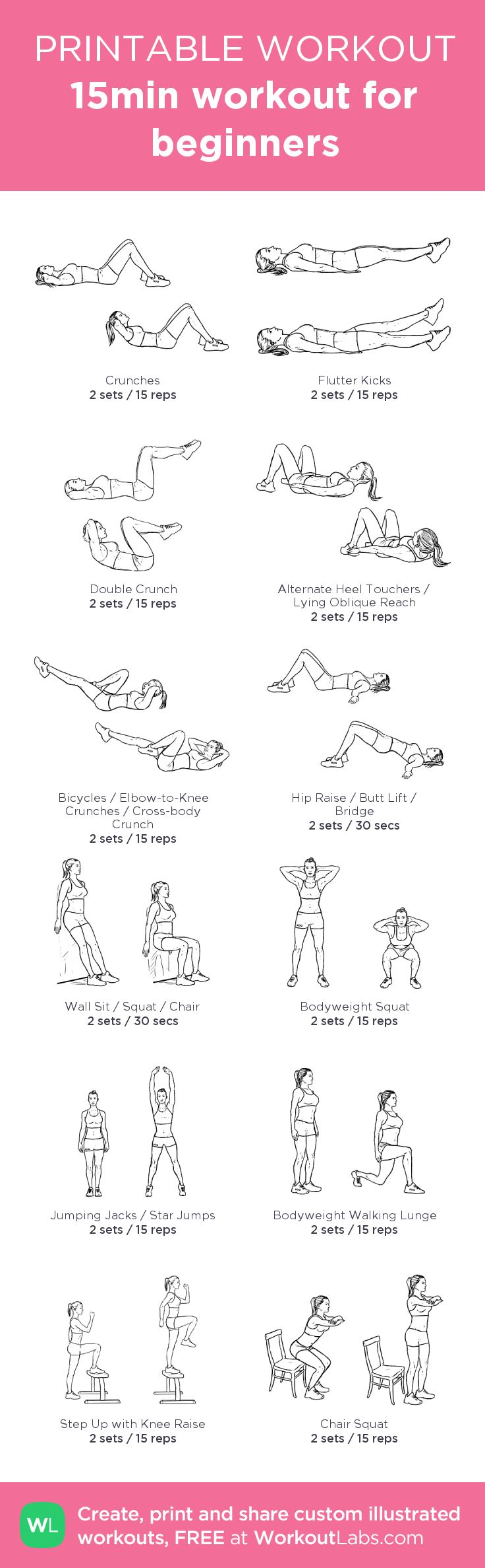15min workout for beginners: my visual workout created at WorkoutLabs.com • Click through to customize and download as a FREE PDF! #customworkout