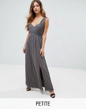 a5f6492674cc9e Little Mistress Petite Metallic Jersey Maxi Dress With Wrap Detail ...