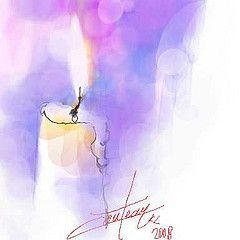 Lumire de Nol / Christmas's light (chrisaqua47) Tags: christmas light holiday watercolor candle lumire aquarelle card watercolour acuarela fte nol carte bougie cartedevoeux aquarello wishescard