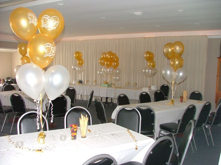 Simple table decorations 50th anniversary party for 50th party decoration ideas