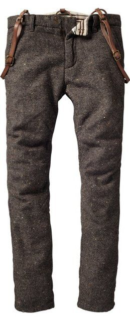 Fancy - Vintage wool raw leather suspender pants by Scotch and Soda