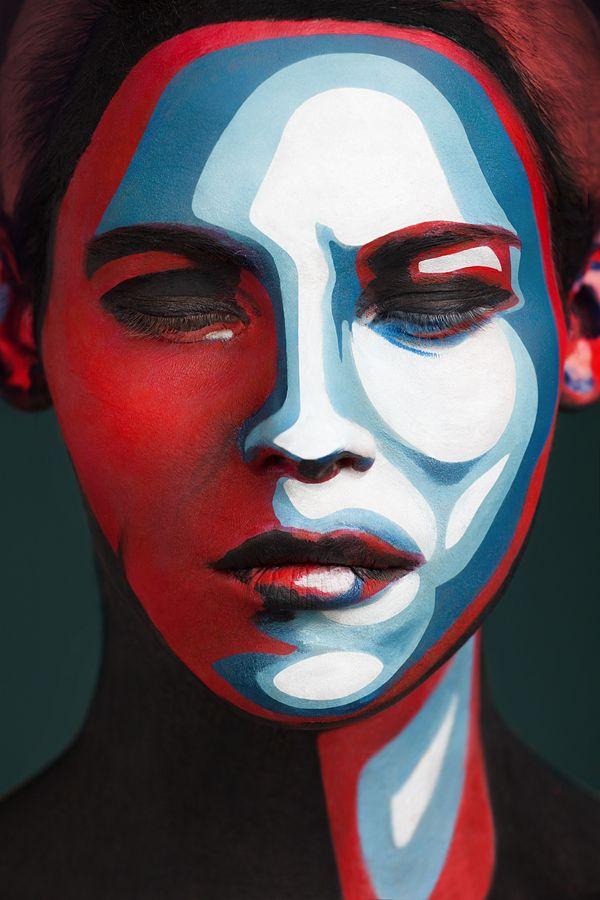 2D or not 2D: Fotografias de pinturas faciais por Alexander Khokhlov ~ Pêssega d'Oro