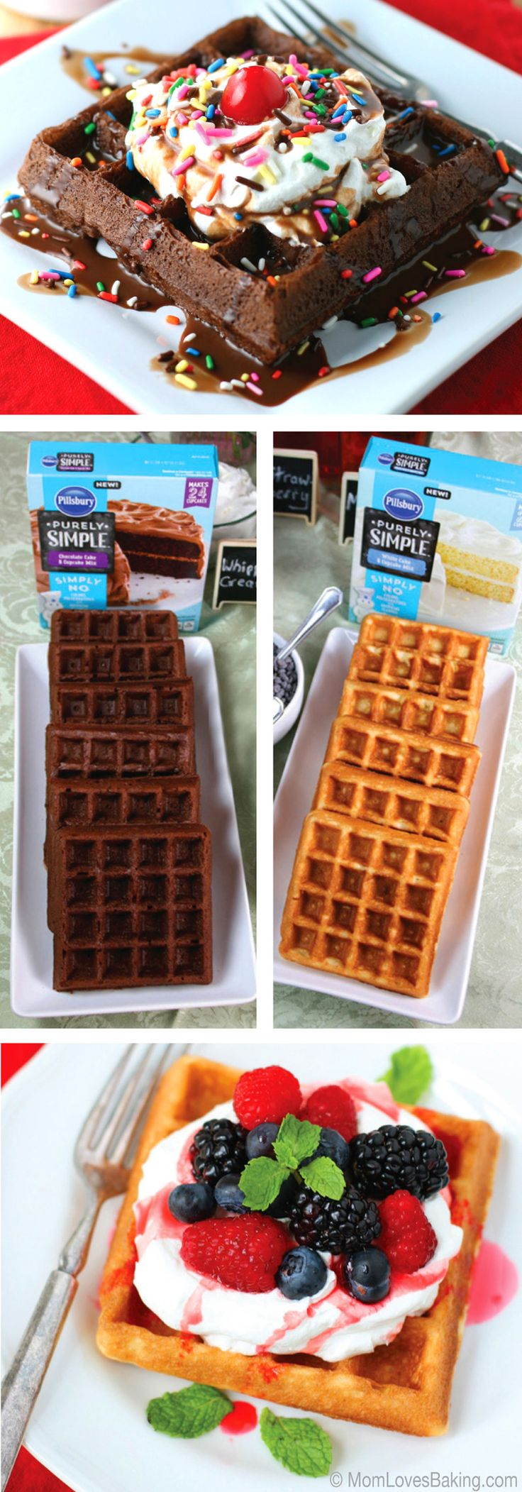 """Did you know that you can make AH-MAZING waffles using cake mix? @momlovesbaking used Pillsbury Purely Simple Chocolate Cake Mix to make these scrumptious """"hot fudge sundae"""" Cake Mix Waffles!"""