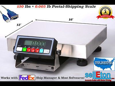 Smart Postal & Shipping Scale l 130 lbs x .005 lb with USB cable