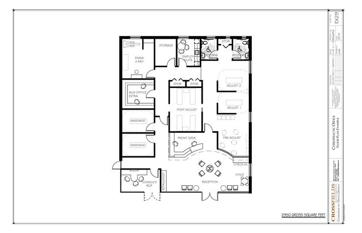 Chiropractic Floor Plan with massage and pre-adjusting and massage 2950 gross sq. ft. EX29
