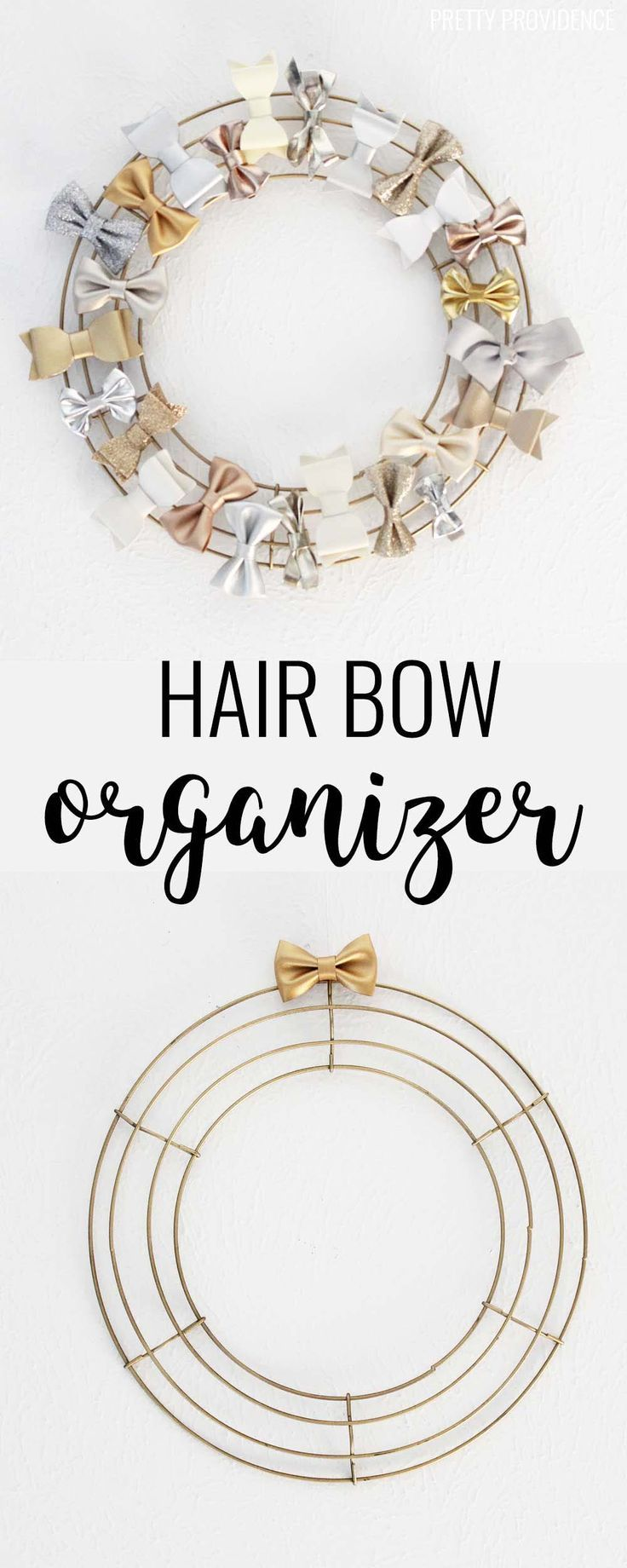 This is a great way to organize girls' bows! All you need is a wreath form and some spray paint!