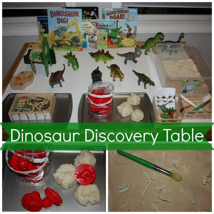 Dinosaur discovery table with lots of great dinosaur learning ideas
