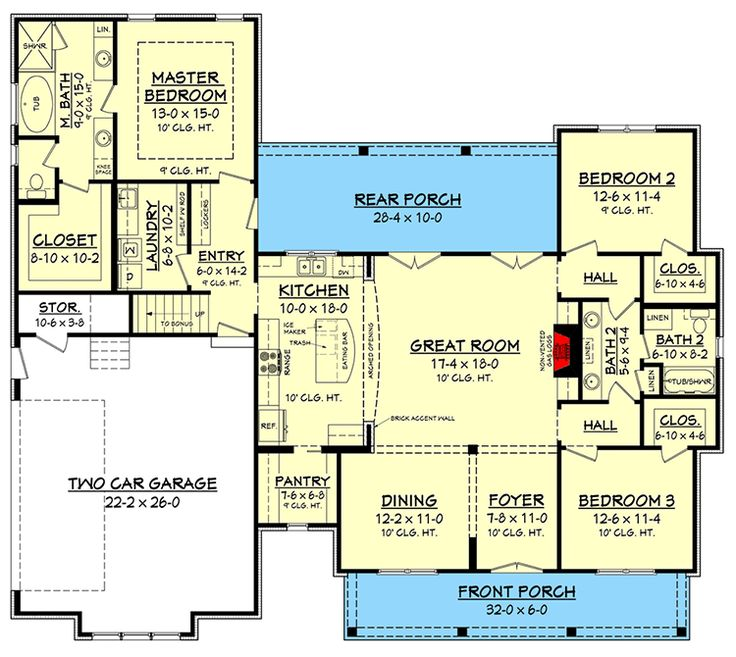 Budget Friendly Modern Farmhouse Plan With Bonus Room   51762HZ | 1st Floor  Master Suite,