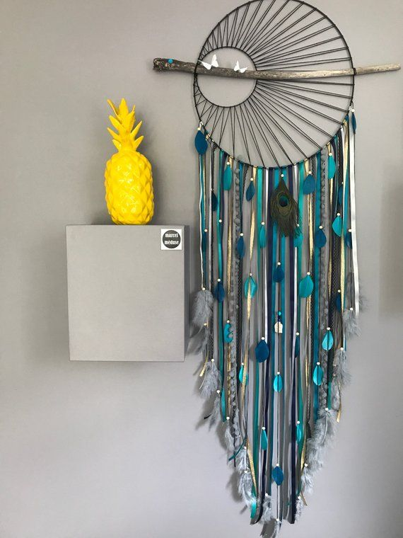 Dream catcher / dreamcatcher big weaving in shades of Blue Solar