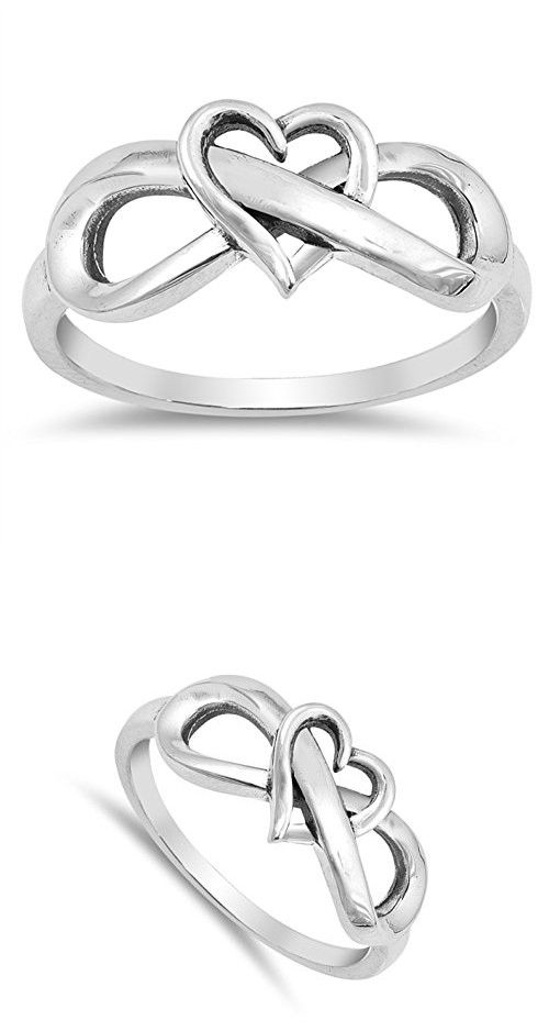 Oxidized Heart Infinity Love Knot Promise Ring Sterling Silver Band Size 7 (RNG17863-7)