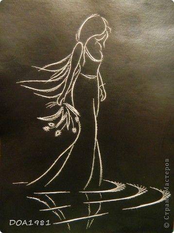 Картина панно рисунок Изонить идущая по лужам Картон Нитки