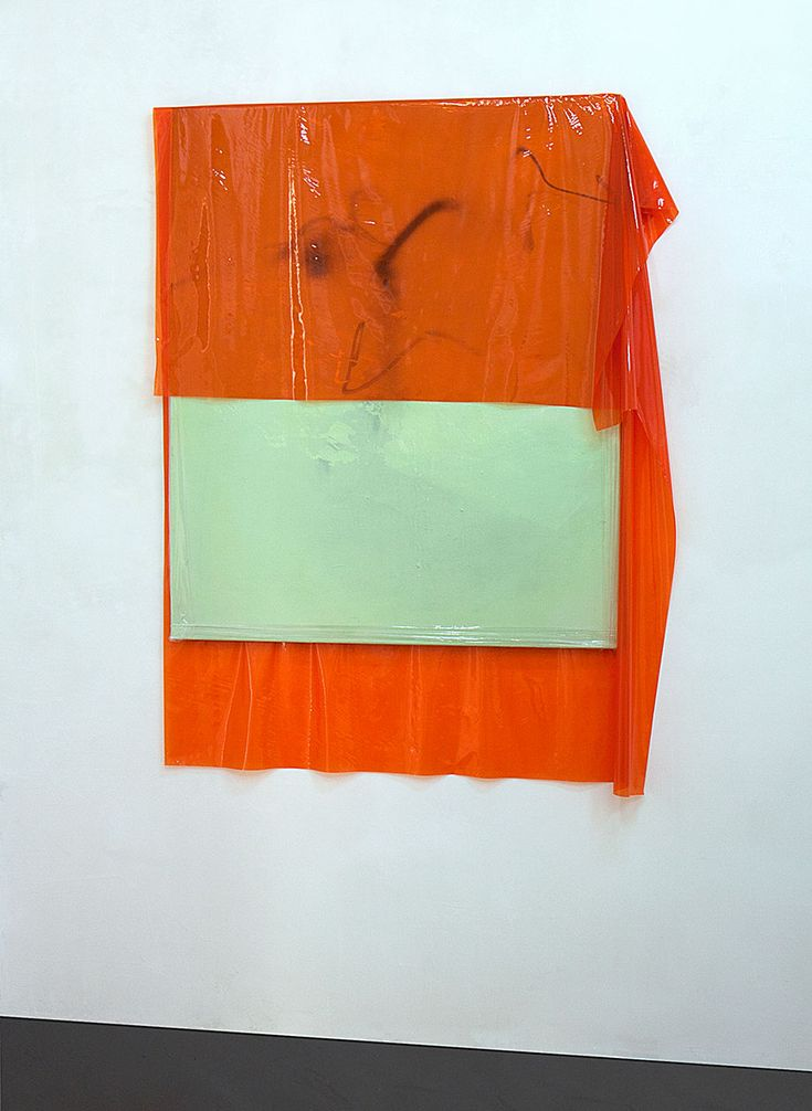 Michaela Zimmer  150104 Year: 2015 Medium: Acrylic, lacquer, spray paint, and PE film on canvas Size: 150 x 115 cm, Installation view at Stuttgarter Platz 2