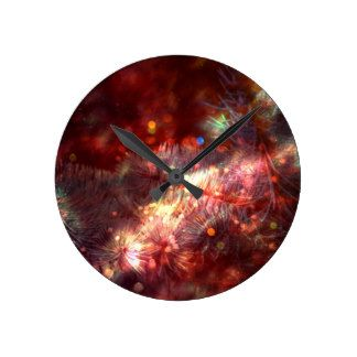Glowing Spruce Branches Round Clock