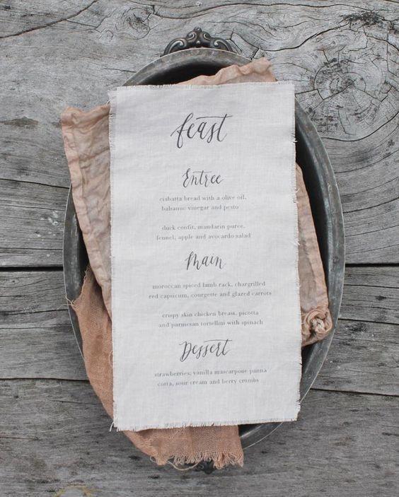 Rose Gold | Fabric Menus | Silk & Willow