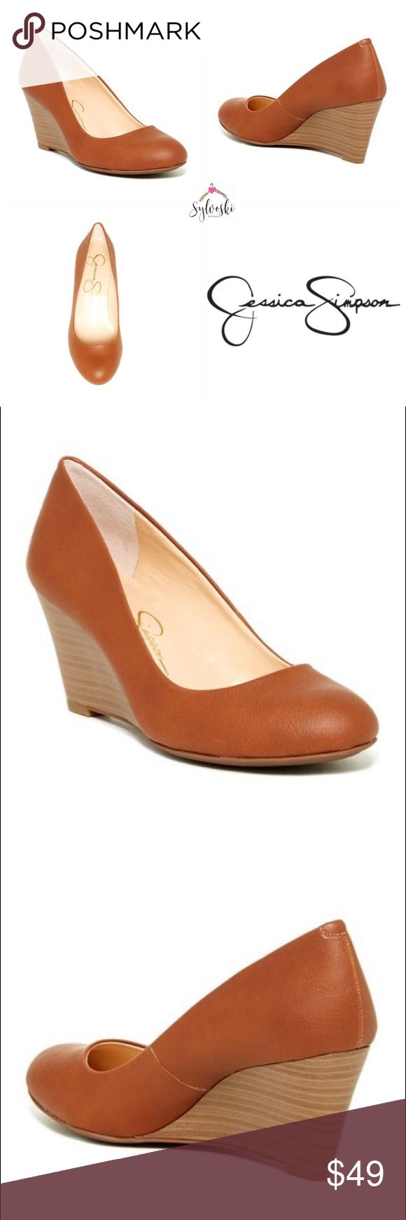 "🆕Jessica Simpson Sampson Wedge Pump A stacked wedge heel raises the bar on a classic round toe, faux leather silhouette.  Sizing: True to size. M=standard width  - Round toe - Slip-on - Lightly padded insole - Wedge heel - Approx. 3"" heel - Imported Materials Manmade upper and sole Jessica Simpson Shoes Wedges"