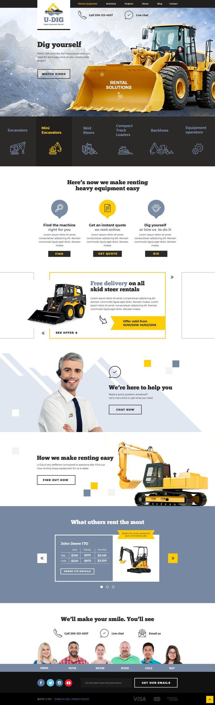 Website U-DIG. Heavy Equipment Rentals