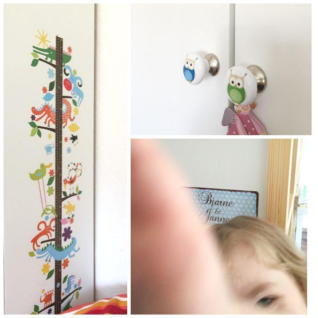 Spectacular Kinderzimmer Messlatte Eulen am Kleiderschrank und Namensschild