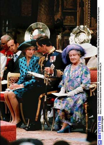 July 23. 1986: HRH Diana, Princess of Wales and Prince Charles next to the Queen Mother at the wedding of Prince Andrew to Sarah Ferguson.