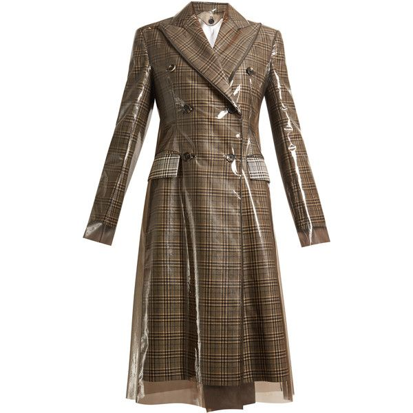Calvin Klein 205W39NYC Layered double-breasted checked coat ($3,223) ❤ liked on Polyvore featuring outerwear, coats, calvin klein, multi, plastic coat, fur-lined coats, double-breasted coat, brown double breasted coat and brown coat