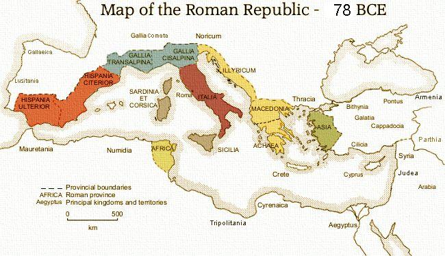 (78 BCE) Provinces of the Roman Republic | Maps, Charts ...