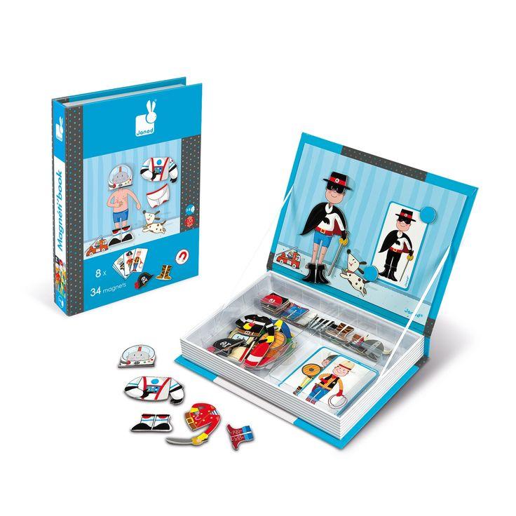 Les Magnéti'Book sont des jeux éducatifs malins qui se transportent et se rangent facilement ! Les enfants adorent créer des personnages et s'inventer des histoires. Avec les Magnéti'Book ça devient facile ! Avec ce Magnéti'Book, l'enfant doit recomposer les déguisements de Zorro, cow boy etc… grâce à des magnets illustrés en s'aidant de modèles sur …