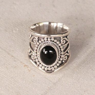 Natural Black Onyx Statement Ring - donbiujewelry - 1