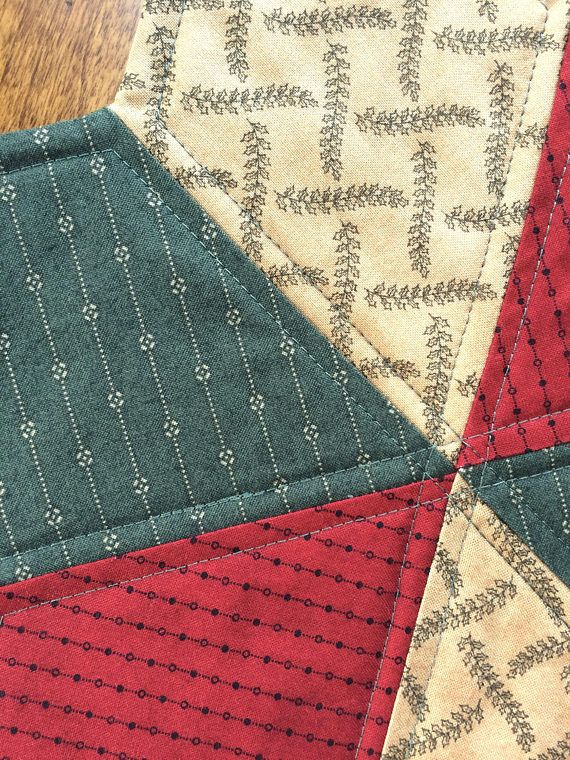 Country Primitive Quilted Star Candle Mat Christmas or year