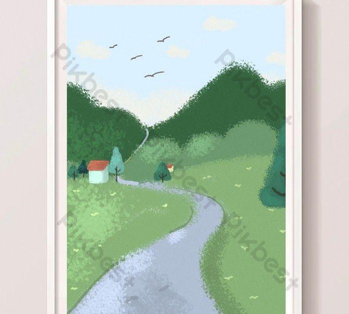 25 Gambar Pemandangan Alam Pedesaan Kartun Pemandangan Jalan Pedesaan Kartun Buatan Tangan Ilustrasi Download Pemandangan Kartun Di 2020 Gambar Pemandangan Kartun
