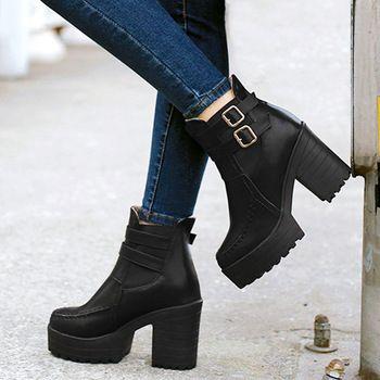 Sapatos primavera outono novo áspero Toe botas curtas de cano femininos estilo…