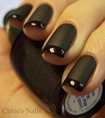 black nails with french manicure - schwarze Nägel mit French Maniküre - Mattschwarz