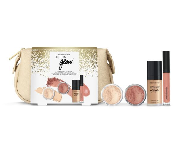 Light up every room with this breathtaking assortment for gorgeous skin and sumptuous lips. Collection Includes: *Mineral Veil® Sunwashed Shell, 1.5g / 0.05 oz *Illuminating Mineral Veil®, 2g / 0.07 oz. *Stroke Of Light™ Highlighter, 10ml / 0.35 fl. oz. *Moxie™ Plumping Lipgloss Dazzler, 4.5ml / 0.15 fl. oz. *Makeup Bag