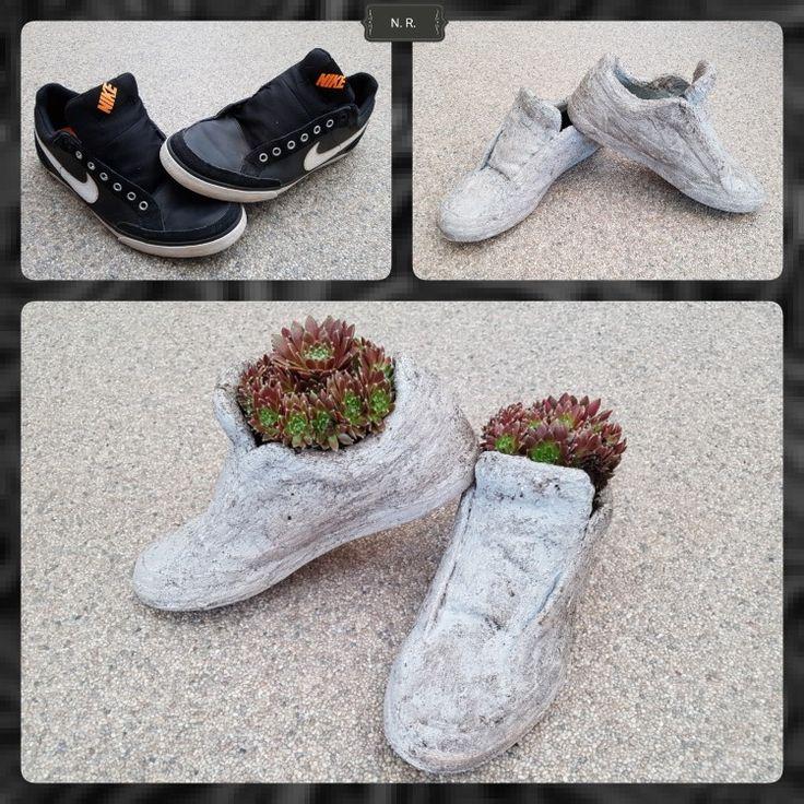 oude schoenen insmeren met muurvuller
