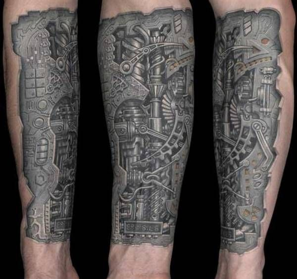 Tattoo Designs That Will Make You Want To Put Them All: Steampunk Mechanical Gear Tattoo