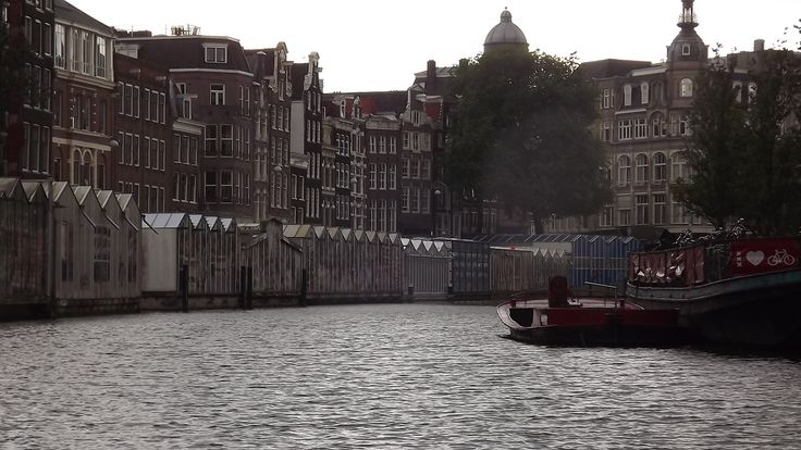 flowers market - canal - Amsterdam