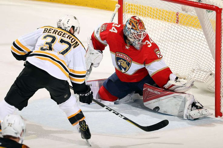 SUNRISE, FL - JANUARY 7: Goaltender James Reimer #34 of the Florida Panthers defends a net against Patrice Bergeron #37 of the Boston Bruins at the BB&T Center on January 7, 2017 in Sunrise, Florida. (Photo by Eliot J. Schechter/NHLI via Getty Images)