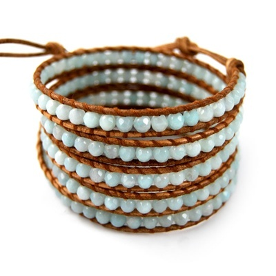 Amazonite Wrap Bracelet on Natural Brown Leather #ChanLuu