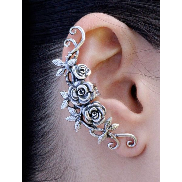 Flower Ear Cuff Floral Ear Cuff Rose Ear Cuff Silver Rose Tendril Ear... ($110) ❤ liked on Polyvore featuring jewelry, earrings, flower jewellery, silver ear cuff, flower jewelry, silver flower earrings and silver jewelry