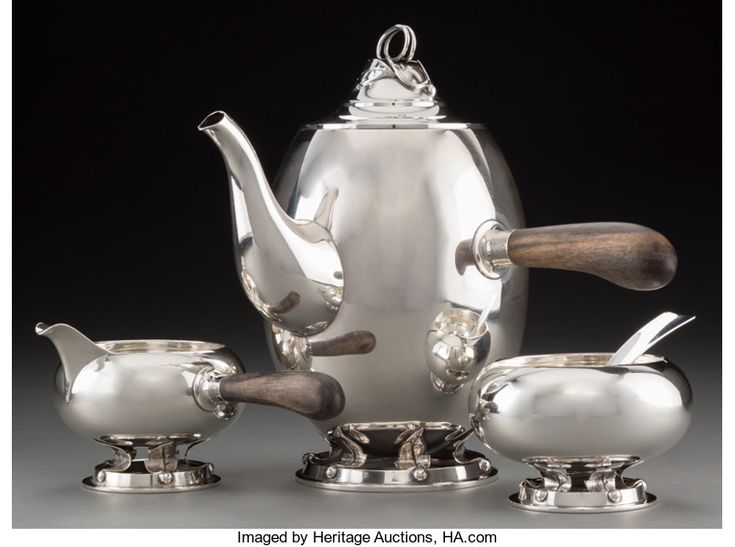 Silver Holloware, American Silver Coffee Pots, A Four-Piece Allan Adler Silver Coffee Service, circa 1956.  Mid 20th Century American Silver Coffee Pot, Creamer, Sugar Bowl