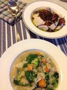 Jaime Oliver's 15 min Minestrone Soup& poached chicken w/verde... Very good!!