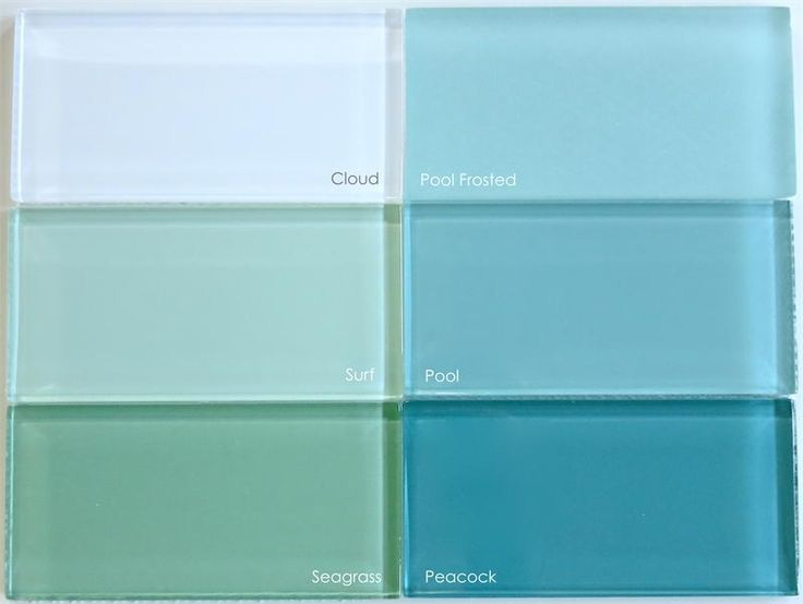 Color comparison of the greens and aquas in our Lush glass subway tile collection. www.modwalls.com